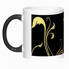 Golden Flowers And Leaves On A Black Background Morph Mugs