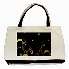 Golden Flowers And Leaves On A Black Background Basic Tote Bag