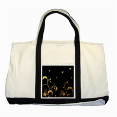 Golden Flowers And Leaves On A Black Background Two Tone Tote Bag