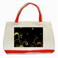 Golden Flowers And Leaves On A Black Background Classic Tote Bag (Red)