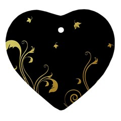 Golden Flowers And Leaves On A Black Background Heart Ornament (Two Sides)