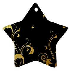 Golden Flowers And Leaves On A Black Background Star Ornament (Two Sides)