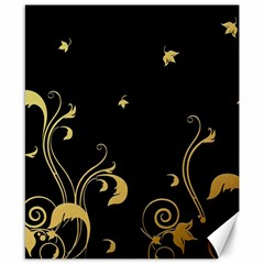 Golden Flowers And Leaves On A Black Background Canvas 8  x 10