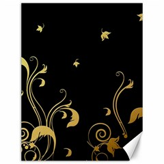Golden Flowers And Leaves On A Black Background Canvas 12  x 16