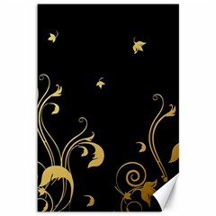 Golden Flowers And Leaves On A Black Background Canvas 12  x 18