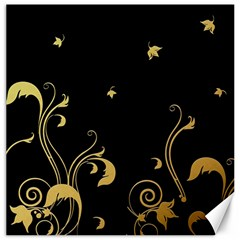 Golden Flowers And Leaves On A Black Background Canvas 16  X 16