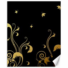 Golden Flowers And Leaves On A Black Background Canvas 16  x 20