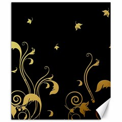 Golden Flowers And Leaves On A Black Background Canvas 20  X 24