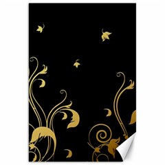 Golden Flowers And Leaves On A Black Background Canvas 20  x 30