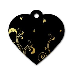 Golden Flowers And Leaves On A Black Background Dog Tag Heart (Two Sides)
