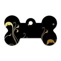 Golden Flowers And Leaves On A Black Background Dog Tag Bone (One Side)