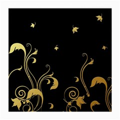 Golden Flowers And Leaves On A Black Background Medium Glasses Cloth