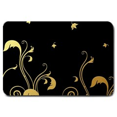 Golden Flowers And Leaves On A Black Background Large Doormat