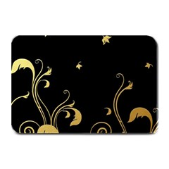 Golden Flowers And Leaves On A Black Background Plate Mats