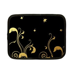 Golden Flowers And Leaves On A Black Background Netbook Case (small)