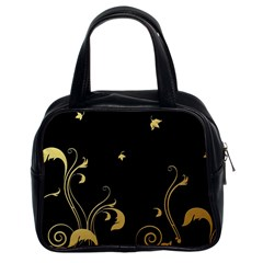 Golden Flowers And Leaves On A Black Background Classic Handbags (2 Sides)