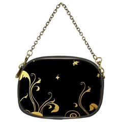 Golden Flowers And Leaves On A Black Background Chain Purses (two Sides)