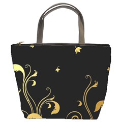 Golden Flowers And Leaves On A Black Background Bucket Bags