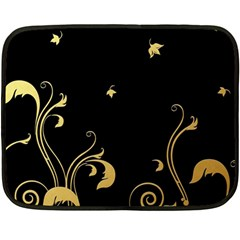 Golden Flowers And Leaves On A Black Background Double Sided Fleece Blanket (mini)