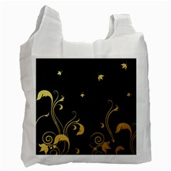 Golden Flowers And Leaves On A Black Background Recycle Bag (One Side)
