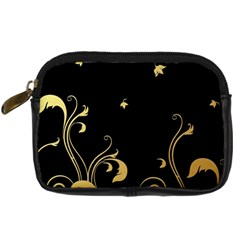 Golden Flowers And Leaves On A Black Background Digital Camera Cases