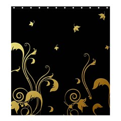 Golden Flowers And Leaves On A Black Background Shower Curtain 66  x 72  (Large)