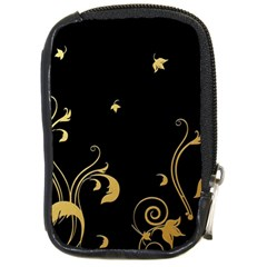 Golden Flowers And Leaves On A Black Background Compact Camera Cases