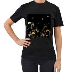 Golden Flowers And Leaves On A Black Background Women s T-Shirt (Black)