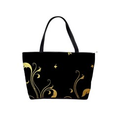 Golden Flowers And Leaves On A Black Background Shoulder Handbags