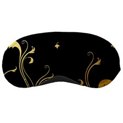 Golden Flowers And Leaves On A Black Background Sleeping Masks