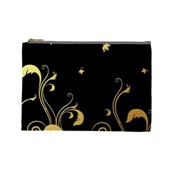 Golden Flowers And Leaves On A Black Background Cosmetic Bag (Large)