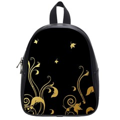 Golden Flowers And Leaves On A Black Background School Bags (Small)