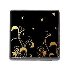 Golden Flowers And Leaves On A Black Background Memory Card Reader (Square)