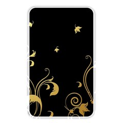 Golden Flowers And Leaves On A Black Background Memory Card Reader
