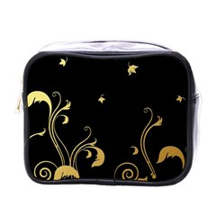 Golden Flowers And Leaves On A Black Background Mini Toiletries Bags