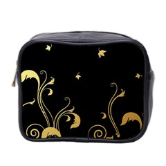 Golden Flowers And Leaves On A Black Background Mini Toiletries Bag 2-Side