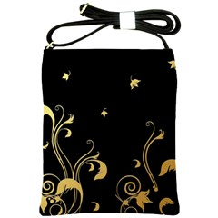 Golden Flowers And Leaves On A Black Background Shoulder Sling Bags