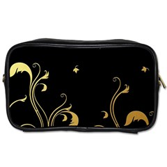 Golden Flowers And Leaves On A Black Background Toiletries Bags 2 Side