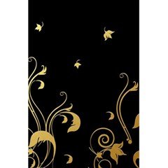 Golden Flowers And Leaves On A Black Background 5.5  x 8.5  Notebooks