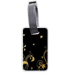 Golden Flowers And Leaves On A Black Background Luggage Tags (One Side)