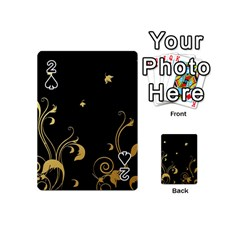 Golden Flowers And Leaves On A Black Background Playing Cards 54 (mini)