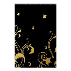 Golden Flowers And Leaves On A Black Background Shower Curtain 48  X 72  (small)