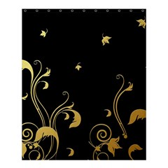 Golden Flowers And Leaves On A Black Background Shower Curtain 60  x 72  (Medium)