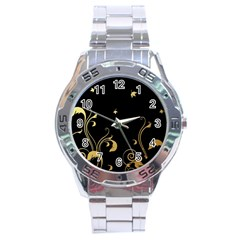 Golden Flowers And Leaves On A Black Background Stainless Steel Analogue Watch