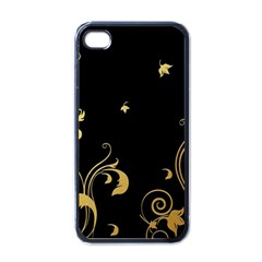 Golden Flowers And Leaves On A Black Background Apple iPhone 4 Case (Black)