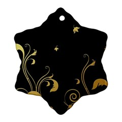 Golden Flowers And Leaves On A Black Background Snowflake Ornament (Two Sides)