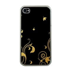 Golden Flowers And Leaves On A Black Background Apple Iphone 4 Case (clear)