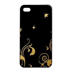 Golden Flowers And Leaves On A Black Background Apple iPhone 4/4s Seamless Case (Black)