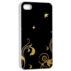 Golden Flowers And Leaves On A Black Background Apple iPhone 4/4s Seamless Case (White)