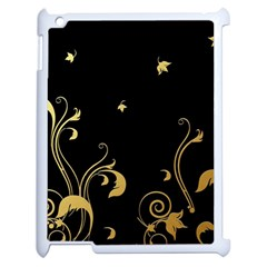 Golden Flowers And Leaves On A Black Background Apple Ipad 2 Case (white)